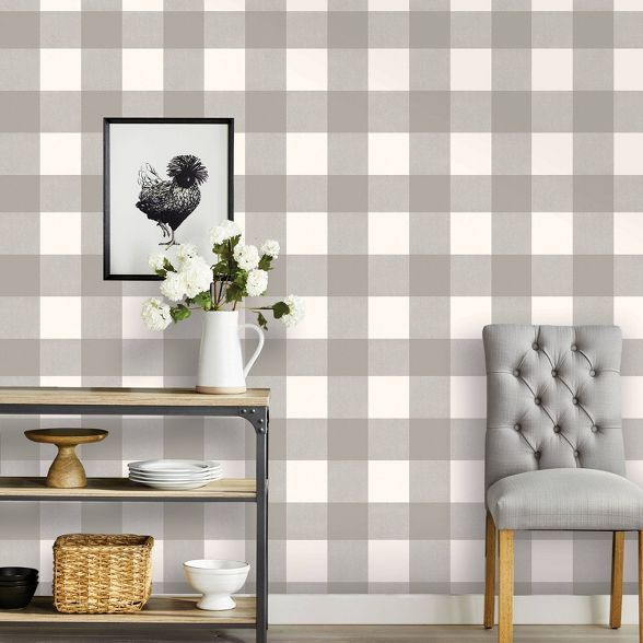 Buffalo Plaid Peel Stick Wallpaper Threshold In 2021 Peel And Stick Wallpaper Plaid Wallpaper Home Wallpaper