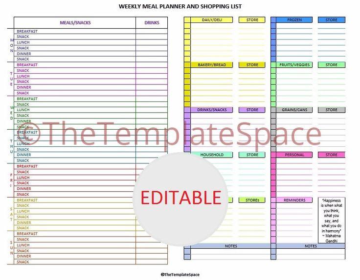 editable meal planner  u0026 grocery list template  printable and editable meal planner and grocery