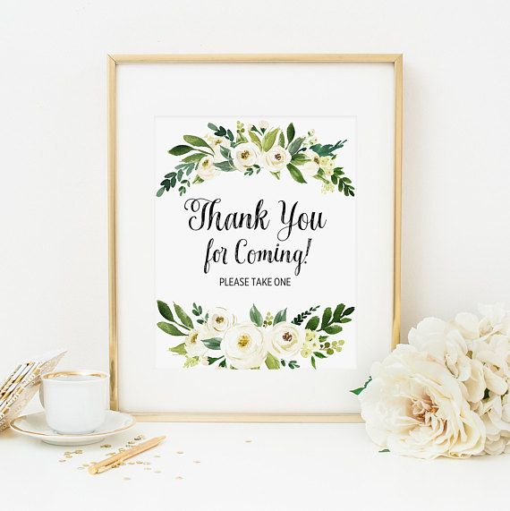 d931ae81d7df White Floral Thank You For Coming Please Take One Sign Printable Greenery  Favors Sign Bridal Shower Decoration Baby Shower Decoration 298