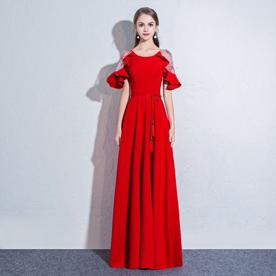 Chic / Beautiful Red Evening Dresses  2018 A-Line / Princess Sash Scoop Neck See-through 1/2 Sleeves Floor-Length / Long Formal Dresses