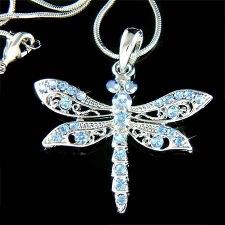Blue w Swarovski Crystal Dragonfly Jewelry Charm Pendant Bridal Wedding Necklace | eBay
