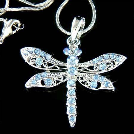Blue w Swarovski Crystal Dragonfly Jewelry Charm Pendant Bridal Wedding Necklace | eBay