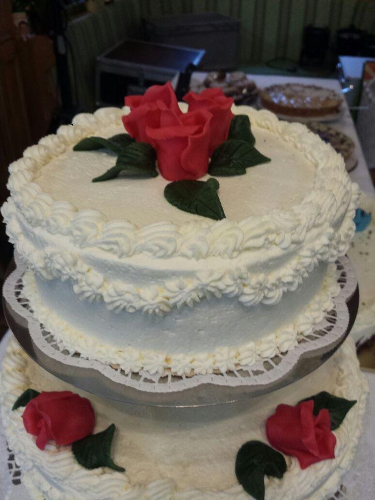 #Hochzeitstorte ♡ Rosen Marzipan Sahnetorte Kuchen dreistöckig