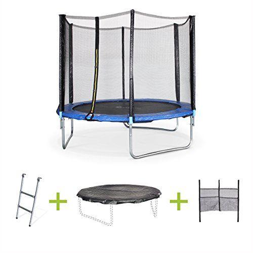 alices garden pluton trampoline rond avec bache de protection echelle filet de securite bleu