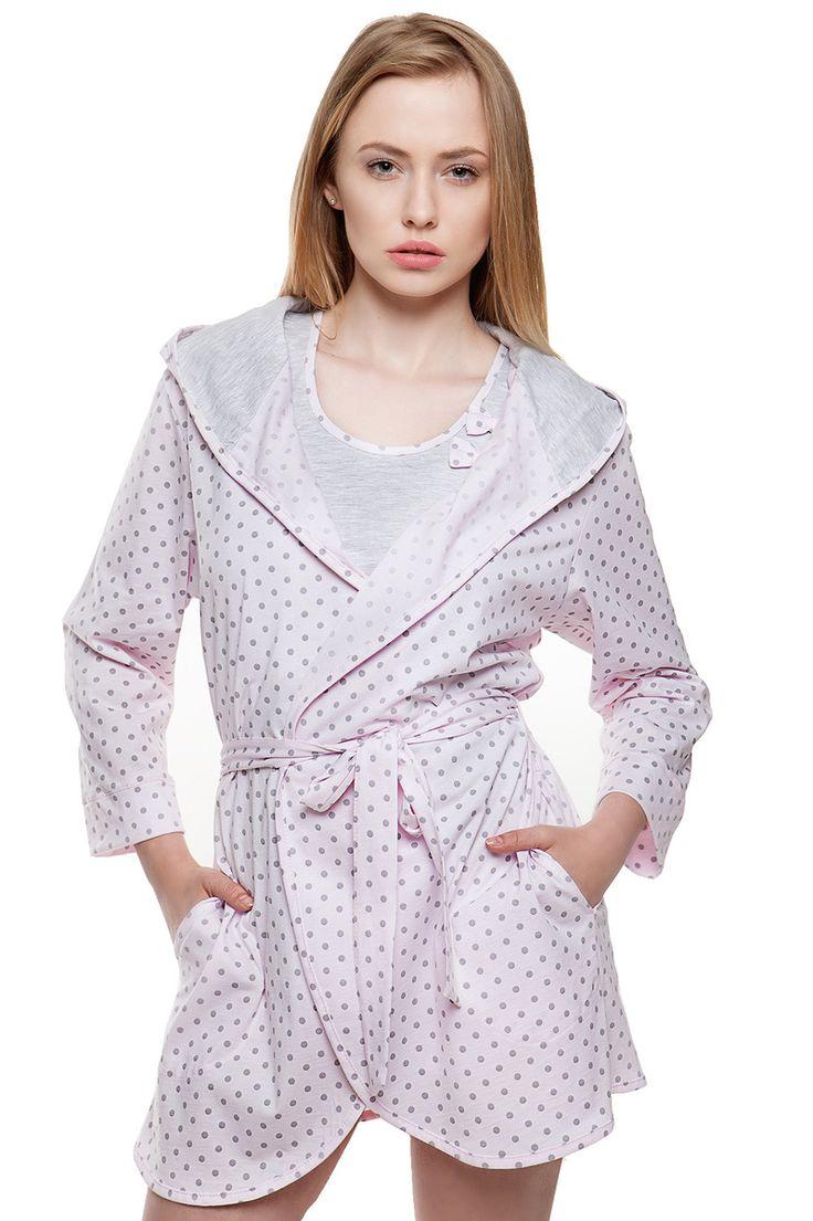 Dámský bavlněný župan s puntíky #bathrobe with polka dots