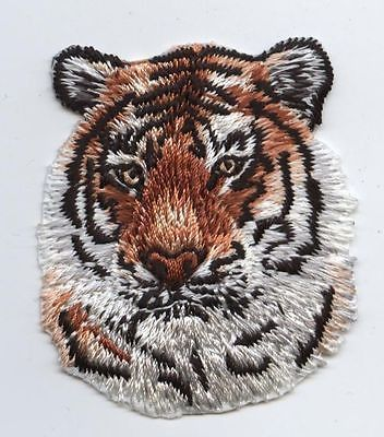 Iron-On Applique Embroidered Patch Natural Orange Striped Tiger Face