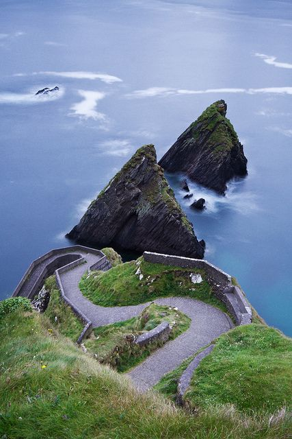 Dun Chaoin Pier is in western County Kerry, Ireland. Dunquin lies at