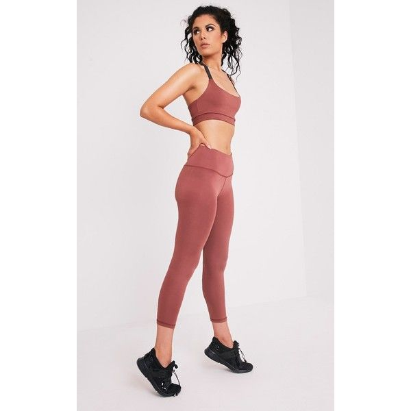 Brooke Mink Cropped Gym Leggings - L ($19) ❤ liked on Polyvore featuring pants, leggings, brown, cropped leggings, cropped pants, brown crop pants, brown trousers and legging pants