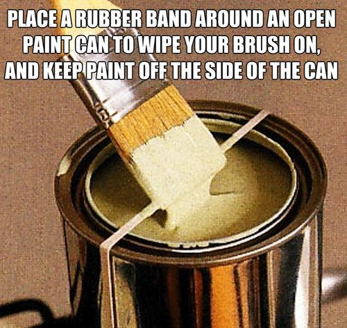 Place a rubber band around an open paint can to wipe your brush on. and keep paint off the side of the can