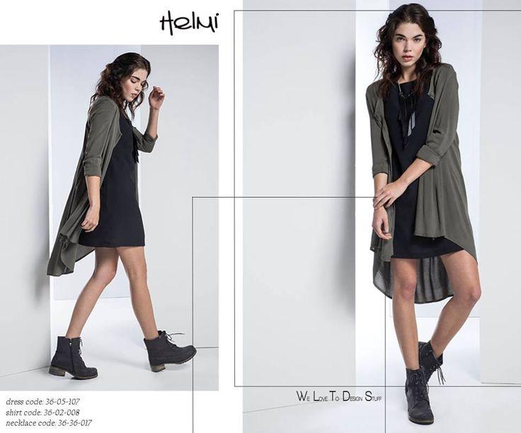 The little black dress & a maxi shirt!  The perfect match!  #shoponline: http://bit.ly/1lZfp2W http://bit.ly/1OghUZQ  #ootd #helmidaily #welovetodesign
