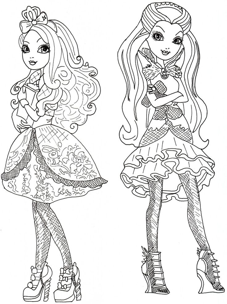 ever after high raven queen coloring pages   Apple White and Raven Queen Free Coloring Page