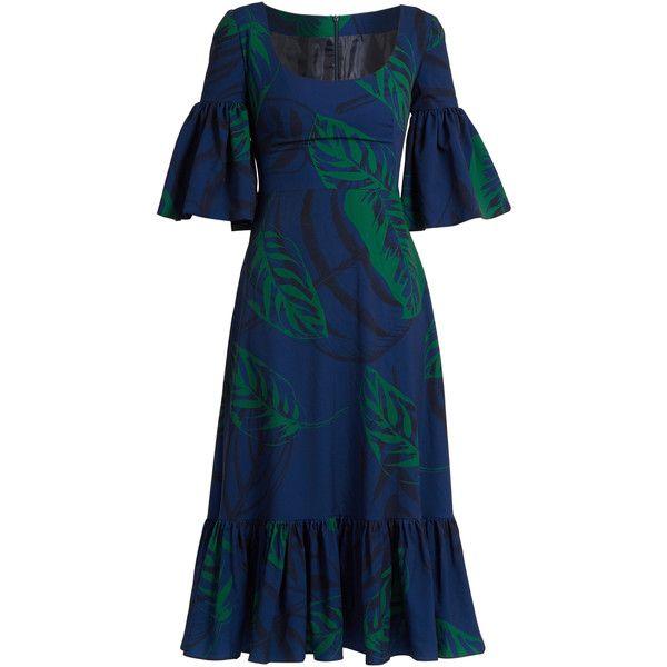 Borgo De Nor Carmen Palm-print ruffled midi dress (40.095 RUB) ❤ liked on Polyvore featuring dresses, blue print dress, mid calf dresses, palm tree print dress, sleeved midi dress and print dresses