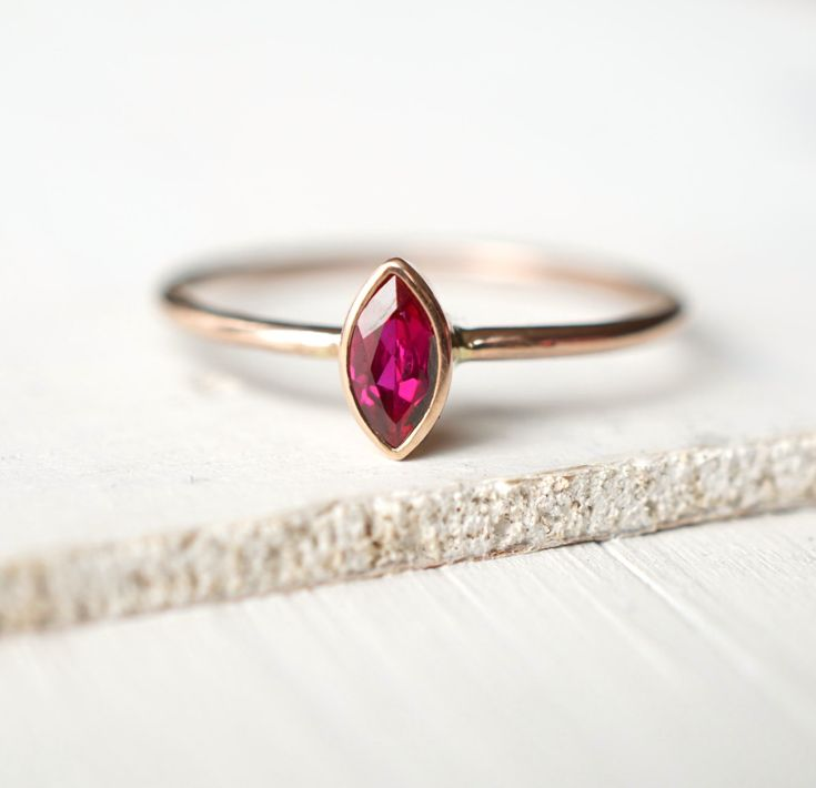 Ruby Ring, Rose Gold Ring, Engagement Ring, Wedding Band, Marquise Ring, Natural Ruby Ring, Custom Jewelry, Solitaire Ring, Stacking Ring by Luxuring on Etsy