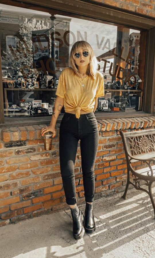 Yellow Tie Front Tee | Black Jeans | Black Boots | Fall Fashion