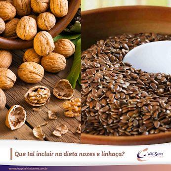Que tal incluir na dieta nozes e linhaça?  As nozes e a linhaça são fontes da gordura ômega 3, contêm antioxidantes importantes para a saúde do cérebro e do coração.