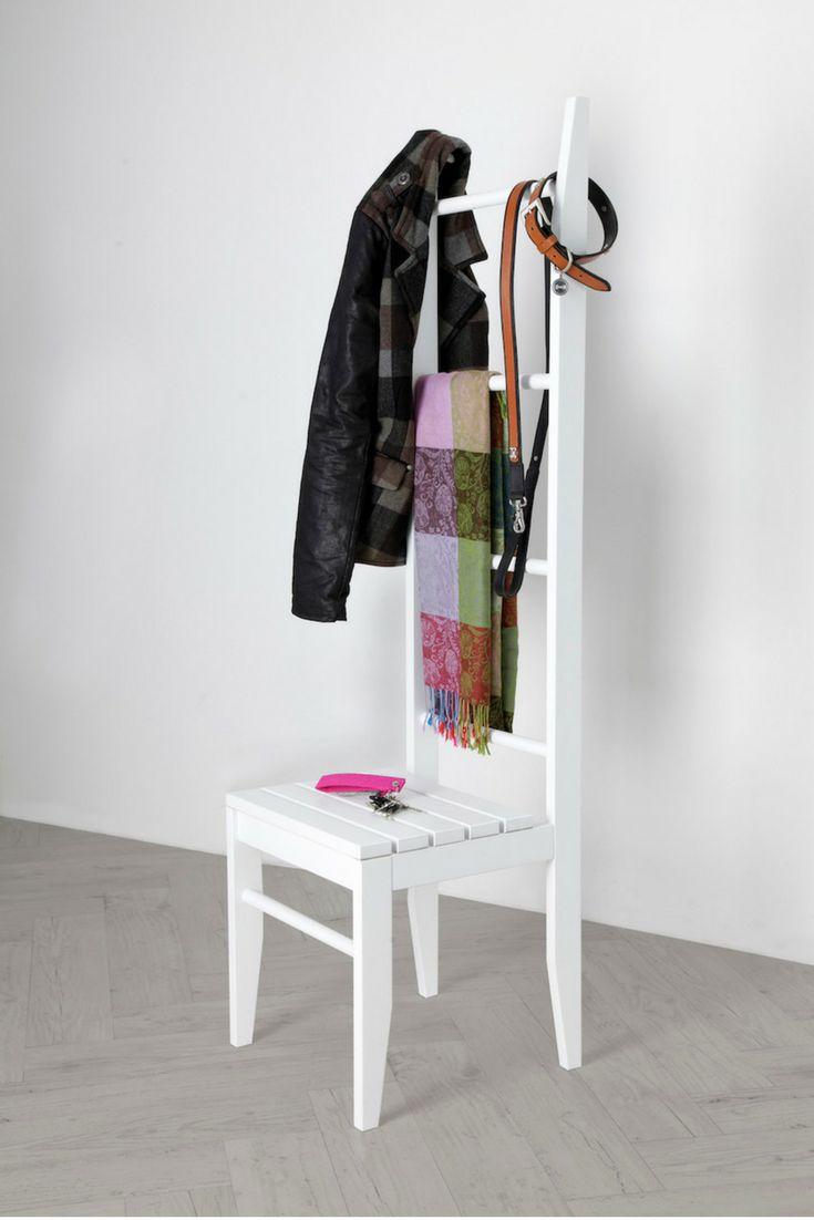 Weißer Kleiderstuhl als Garderobe mit Ablage aus lackiertem Massivholz. Kleiderleiter und moderner Stummer Diener. Rabattcode PIN5OFF