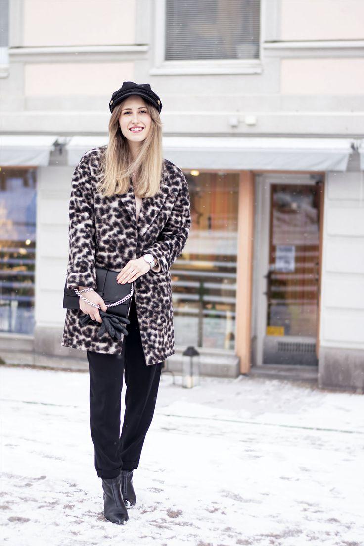 sandraemilia, bloggsamarbete, esprit, klädstyling, trend, fashion, stil, personlig stil, ootd, leopard coat, skeppar mössa, hat 2