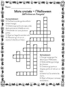 L'Halloween - Mots croisés, cachés, fléchés - French Halloween