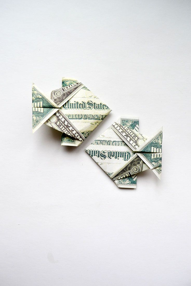 Very Easy Money Fish Origami 1 Dollar Tutorial Diy Folded No Glue