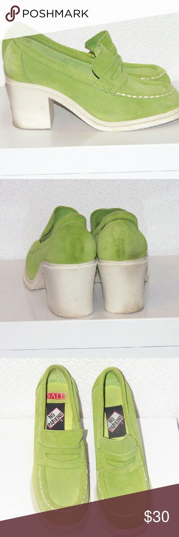 Vintage 90s No Parking Suede heeled loafers Era: Vintage 90s  Brand: No Parking Worn Lightly Chunky Heel Rubber Sole 100% Genuine Suede Lime Green Upper Loafer Style 2 in heel No Parking Shoes Platforms