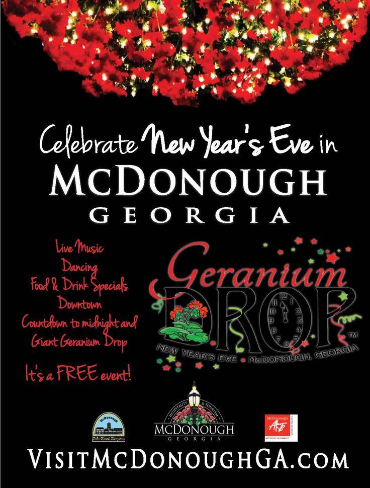Celebrate New Year's Eve in McDonough, Georgia at the annual Geranium Drop!