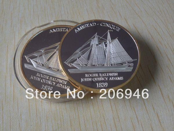 Посеребренные чеканили Роджер болдуин джон куинси адамс 1839 года монеты бесплатная доставка 100 шт./лот