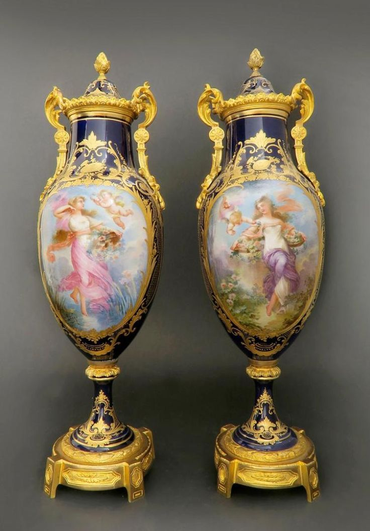 19th C. Pair of French Bronze & Sevres Porcelain Vases Edit
