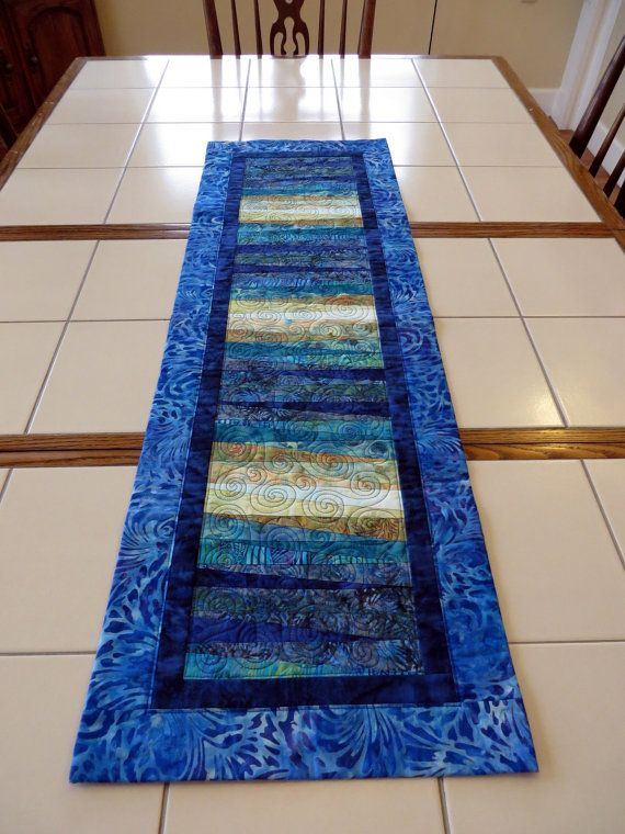 Quilted Batik table runner art quilt wall by Quiltsbysuewaldrep
