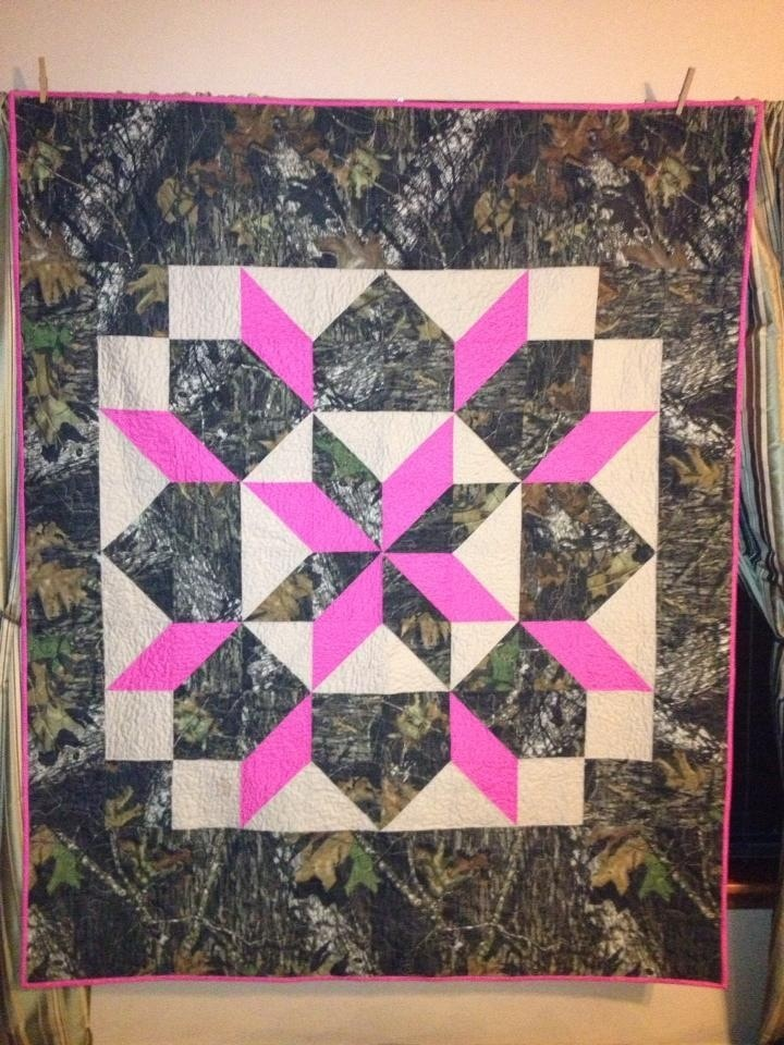Camo and pink quilt...Would work well with colors besides pink...