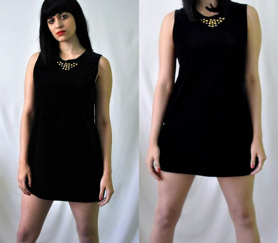 Black Velvet Studded Mod Micro Mini Dress / Vintage 90s by Skella