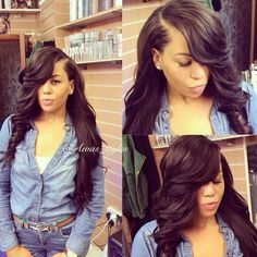 28 best best hair weaves images on pinterest hair weaves online shop brazilian full lace wig body wave wig for black women glueless full lace wigs human hair body wave side part with thick bangs pmusecretfo Image collections