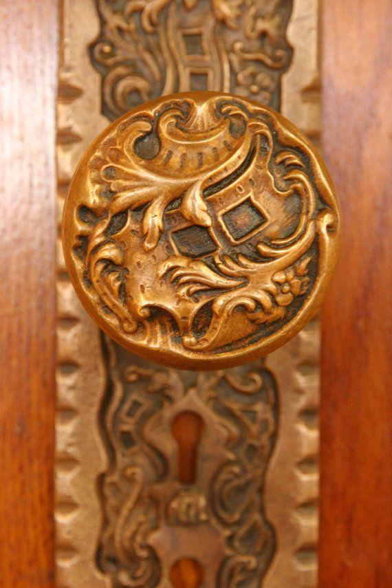 Antique Brass Doorknob And Escutcheon By Reading Hardware   Belfort Pattern
