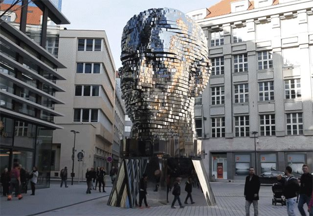 Kafka head metamorphosis in Prague