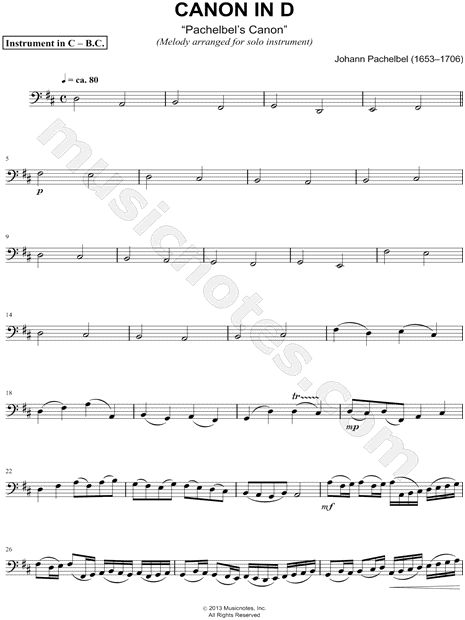 Print and download Canon in D sheet music composed by Johann Pachelbel arranged for Bass Clef Instrument or Cello or Double Bass or Trombone or Bassoon or Baritone Horn. Instrumental Solo in D Major.