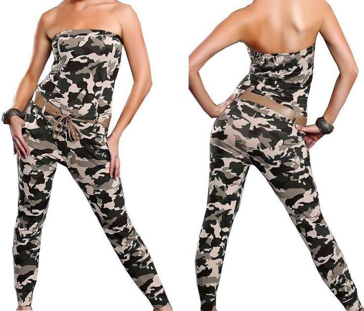 NEU! Damen Onesie Overall Bandeau Jumpsuit Camouflage Einteiler S M 36 38