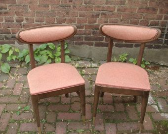 Vintage 1960's Mid Century Modern dining chairs pair, Bianco Danish Modern chairs, Salmon pink dining room furniture, mid century decor