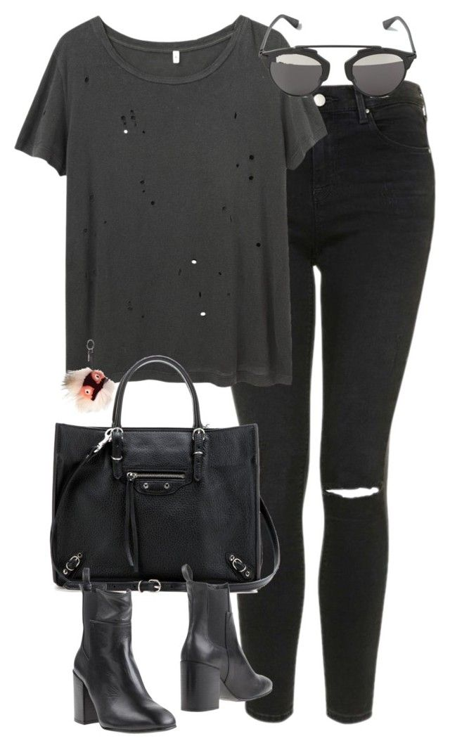 """Untitled #4665"" by eleanorsclosettt ❤ liked on Polyvore featuring Topshop, R13, Fendi, Christian Dior, Balenciaga and Eqüitare"