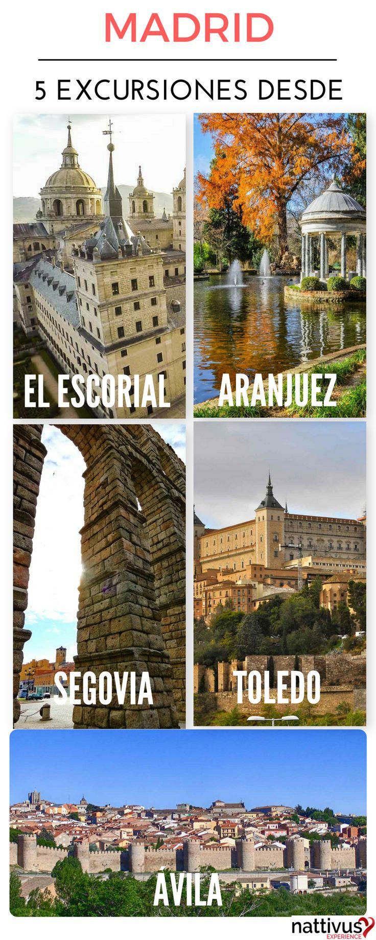5 Excursiones desde Madrid a 1 hora de Madrid. Lugares imprescindibles en tu viaje a Madrid. El Escorial, Aranjuez, Segovia, Toledo y Ávila