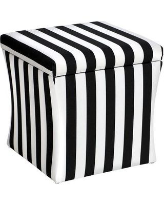 New Year Deal Surprise On Skyline Hourgl Storage Ottoman Canopy Stripe Black And White