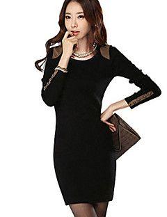 Милдред женская мода тонкий длинный рукав ол дна платье