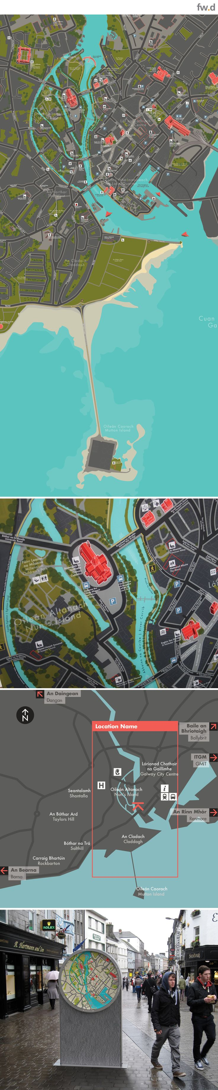 Concept pedestrian wayfinding map designs for Galway