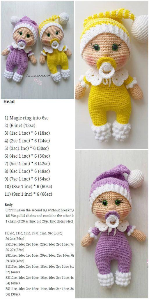 Amigurumi Puppe Schnuller Baby Kostenlose Häkelanleitung – Crochet.msa.plus   – Amigurumi Dolls