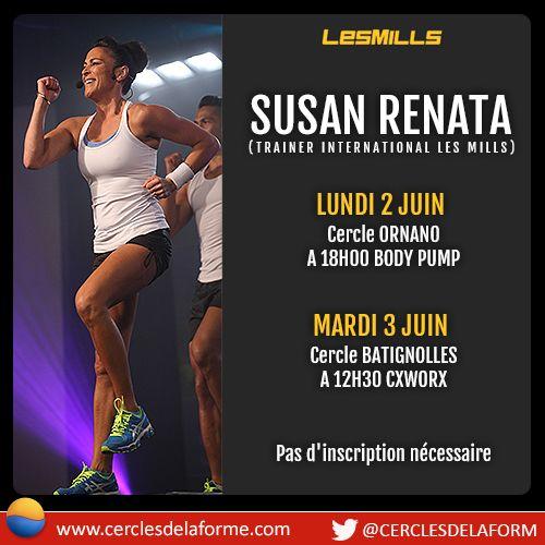 Les Cercles de la Forme accueilleront le célèbre Trainer international LesMills Susan Renata les 2 et 3 Juin au Cercle Ornano et Batignolles pour des cours de #bodypump et #cxworx Pour plus d'infos sur les horaires des cours http://www.salle-sport-paris.fr/ #fitness #lesmills #susantoljrenata #sport #evenement #juin2014 #paris