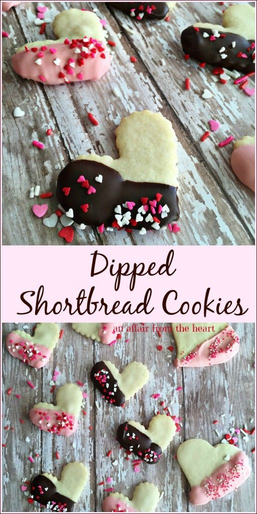 Dipped Shortbread Cookies - An Affair from the Heart -- Shortbread cookie cutouts, dipped in chocolate and dusted with sprinkles.