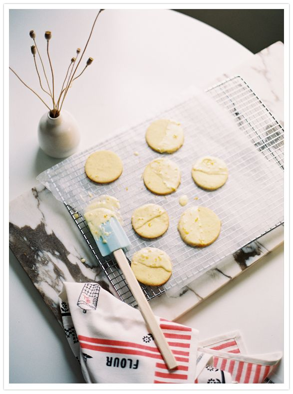 Orange butter cookies with grand marnier icing