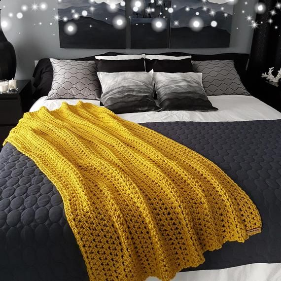 Solid Color Moroccan Pompom Cotton Blanket King Bed Size In 2020 Yellow Bedding Mustard Bedding Yellow Bedroom