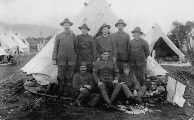 Sharing Soldiers standing by tent, Featherston Camp, June 1915. [P2-30-63] at Upper Hutt City Library