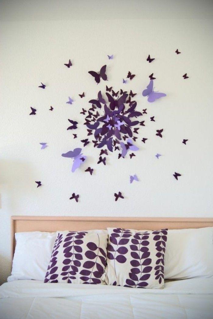 Unique deko tipps lila dreidimensionale schmetterlinge wanddeko bett