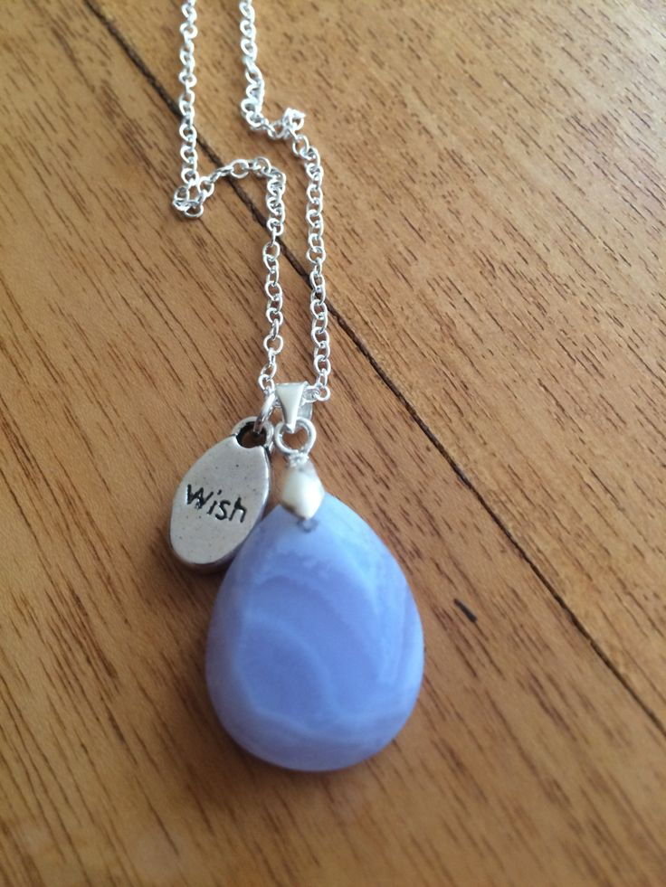 Blue lace agate pendant by wellbeingbliss on Etsy