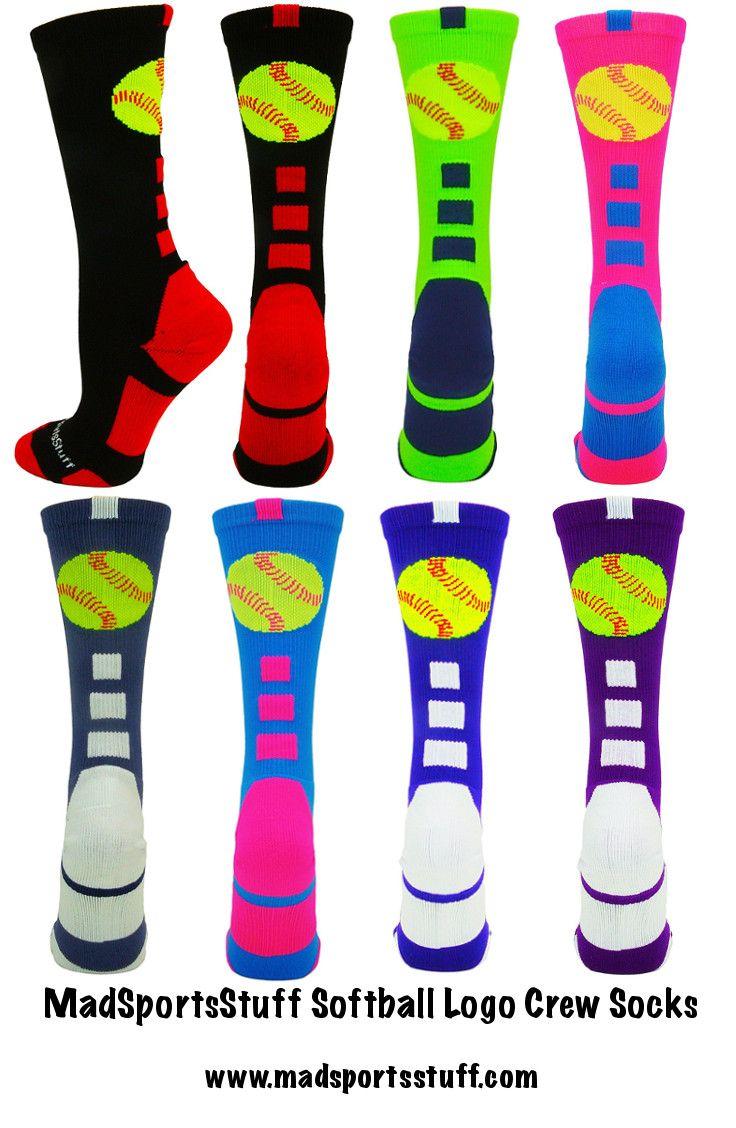 MadSportsStuff Softball Logo Crew Socks in fun neon colors. Great gift for your favorite softball star! #MadSportsStuff